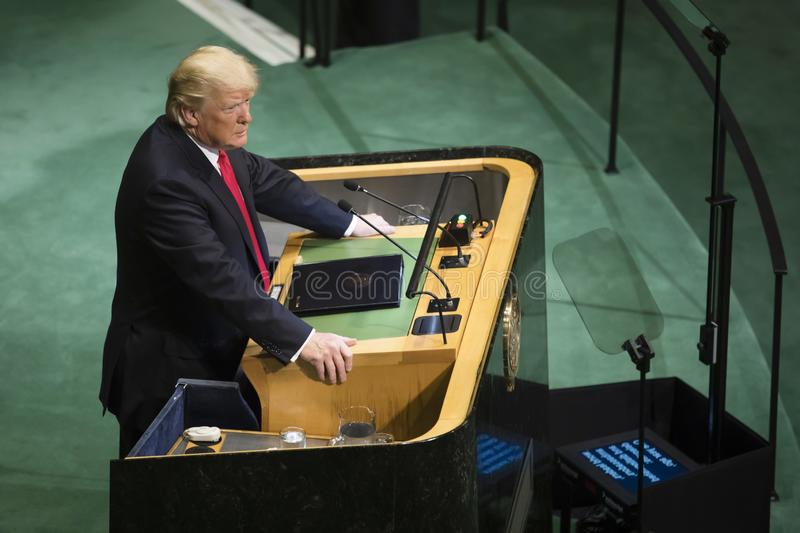 President of the United States Donald Trump. NEW YORK, USA - Sep 25, 2018: President of the United States Donald Trump during the 73th session of the UN Assembly royalty free stock photo