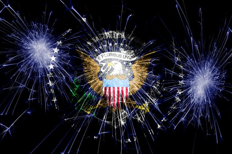 President of the United States fireworks sparkling flag. New Year, Christmas and National day concept stock image