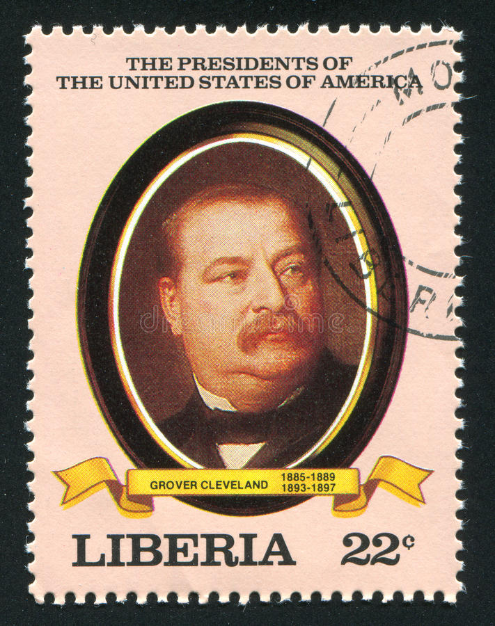 President of the United States Grover Cleveland. LIBERIA - CIRCA 1982: stamp printed by Liberia, shows President of the United States Grover Cleveland, circa royalty free stock photography