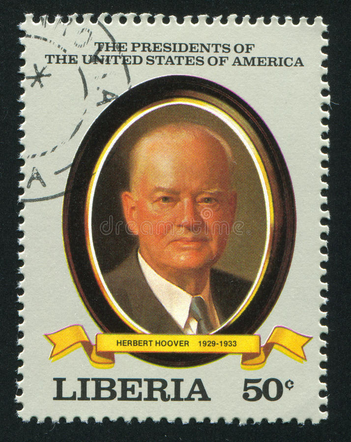 President of the United States Herbert Hoover. LIBERIA - CIRCA 1982: stamp printed by Liberia, shows President of the United States Herbert Hoover, circa 1982 stock photography