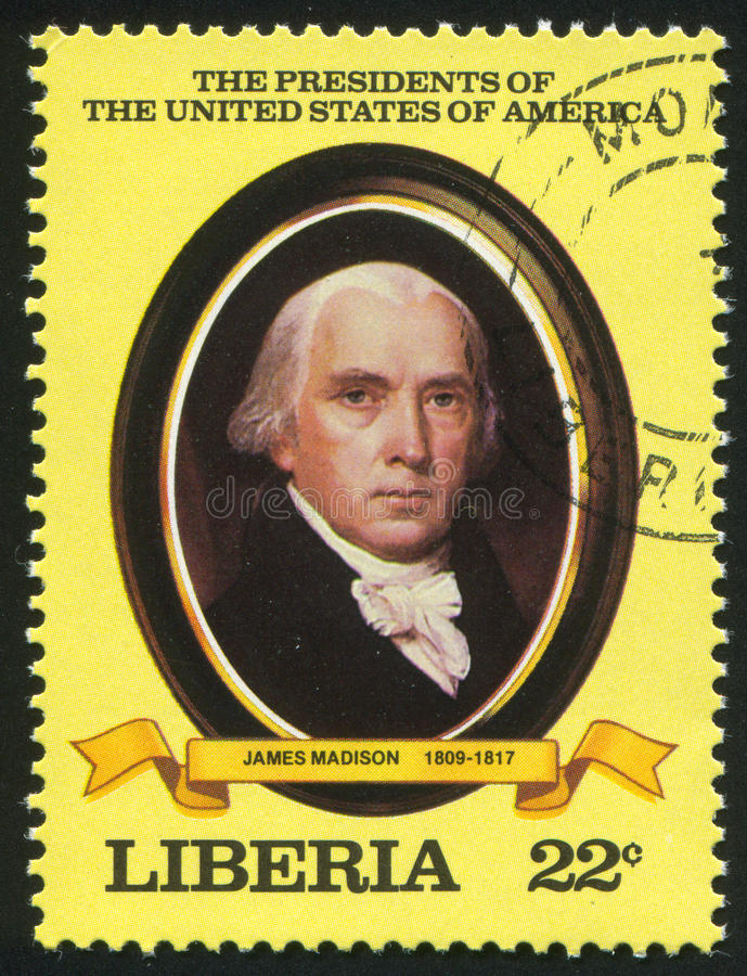 President of the United States James Madison. LIBERIA - CIRCA 1981: stamp printed by Liberia, shows President of the United States James Madison, circa 1981 royalty free stock photos
