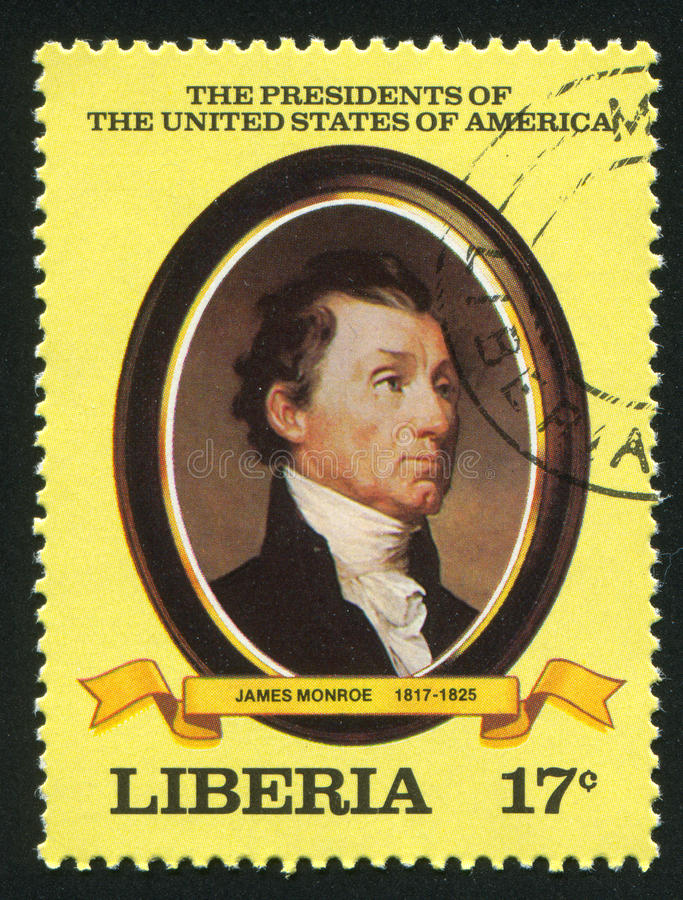 President of the United States James Monroe. LIBERIA - CIRCA 1981: stamp printed by Liberia, shows President of the United States James Monroe, circa 1981 stock photography