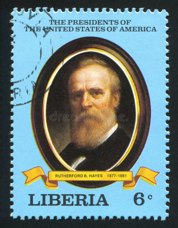 President of the United States Rutherford B. Hayes. LIBERIA - CIRCA 1981: stamp printed by Liberia, shows President of the United States Rutherford B. Hayes stock photo