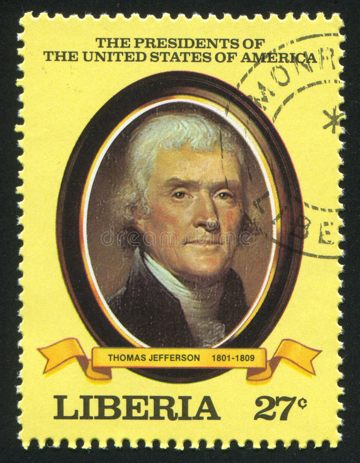 President of the United States Thomas Jefferson. LIBERIA - CIRCA 1981: stamp printed by Liberia, shows President of the United States Thomas Jefferson, circa royalty free stock photography