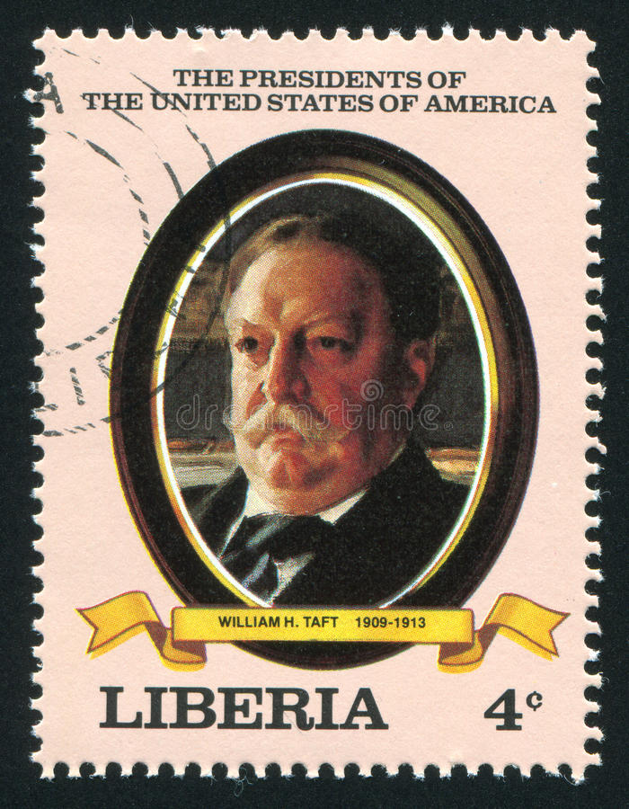 President of the United States William H. Taft. LIBERIA - CIRCA 1982: stamp printed by Liberia, shows President of the United States William H. Taft, circa 1982 stock photos