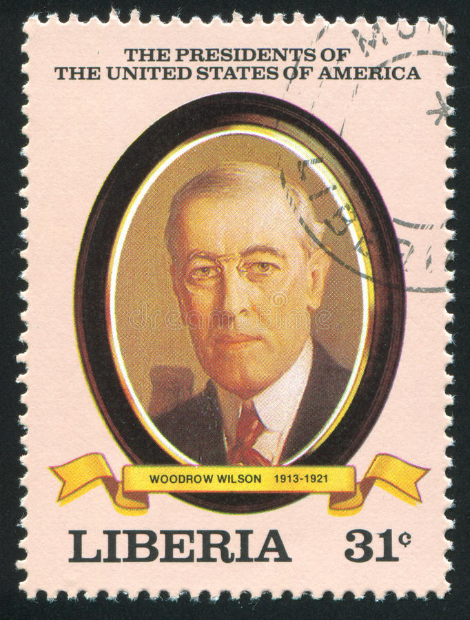 President of the United States Woodrow Wilson. LIBERIA - CIRCA 1982: stamp printed by Liberia, shows President of the United States Woodrow Wilson, circa 1982 stock photo