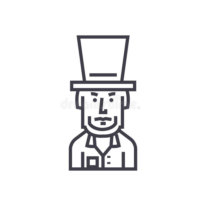 President usa,abraham lincoln vector line icon, sign, illustration on background, editable strokes royalty free illustration