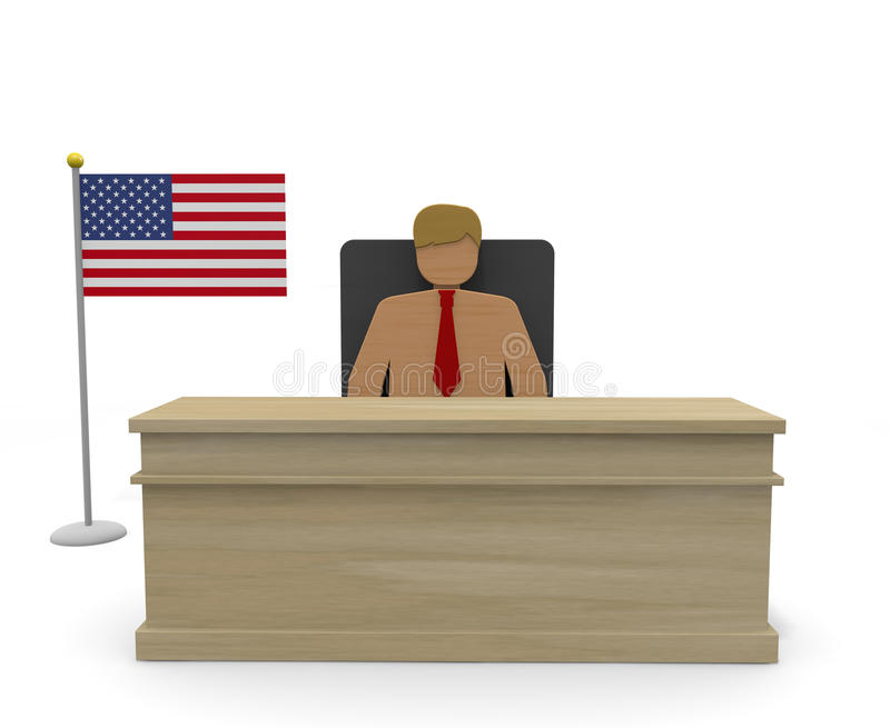 President / USA. President of the United States. I give a speech before the people. I will run for the president. Win the election. Political world. The American vector illustration