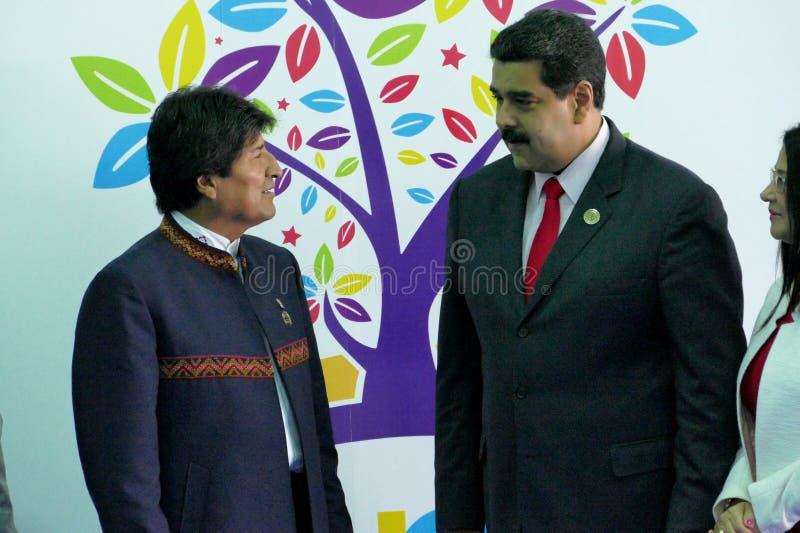 President van Bolivië Evo Morales en Venezolaanse President Nicolas Maduro stock foto