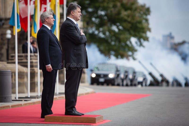 President van de Oekraïne Petro Poroshenko in Ottawa (Canada) stock afbeeldingen