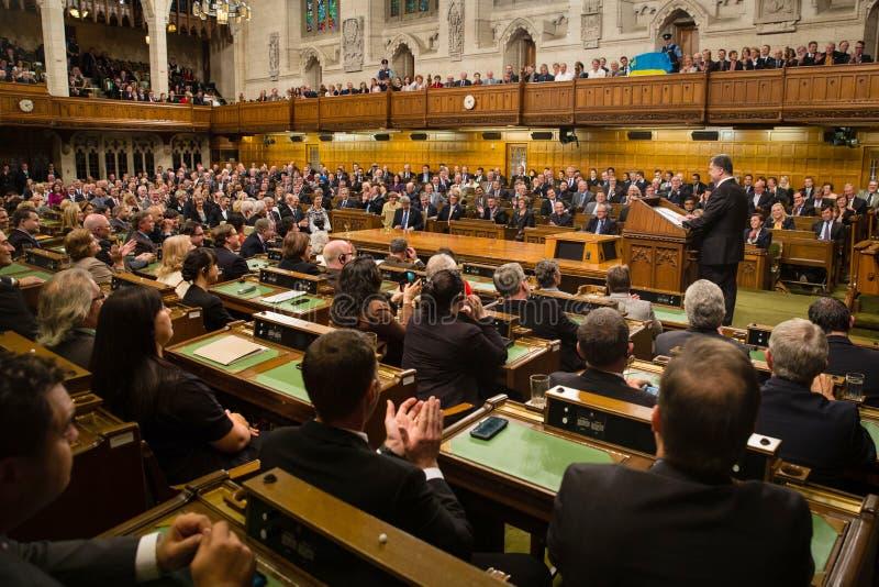 President van de Oekraïne Petro Poroshenko in Ottawa (Canada) royalty-vrije stock afbeeldingen