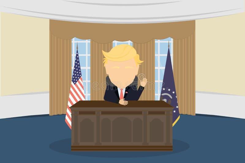 president in White House. royalty free illustration