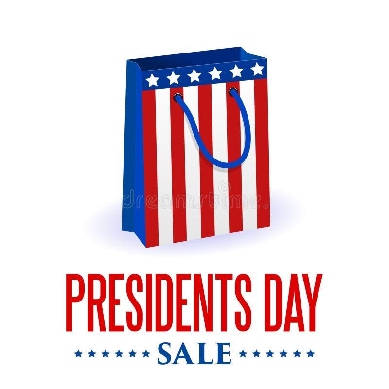 Presidentdagbakgrund USA patriotisk vektormall med text, band och stjärnor i färger av amerikanska flaggan stock illustrationer