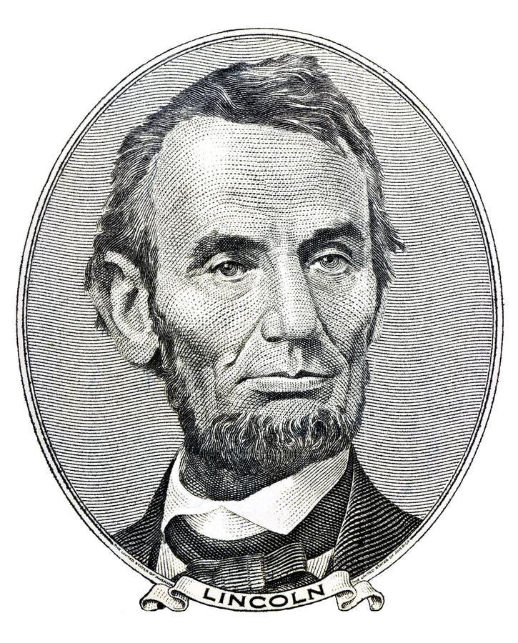 Presidente Abraham Lincoln sulla fattura del dollaro cinque fotografie stock libere da diritti