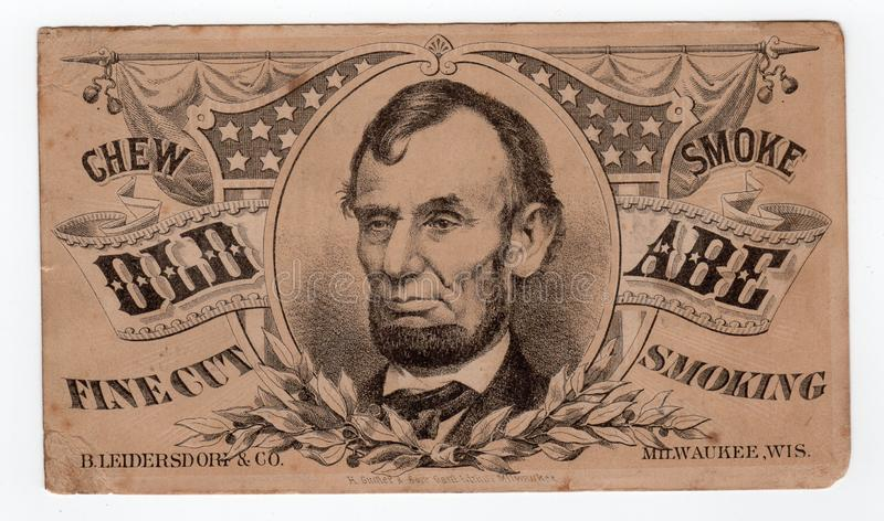 Presidente Abraham Lincoln Vintage Old Advertisement fotografia stock