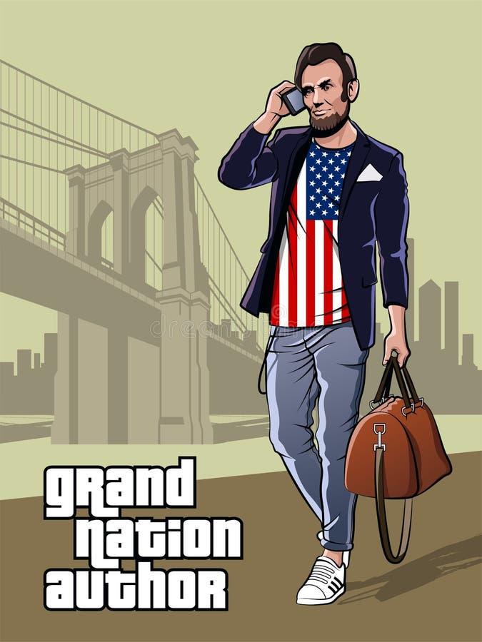 Presidente alla moda del manifesto di festa dell'indipendenza degli Stati Uniti d'America illustrazione vettoriale
