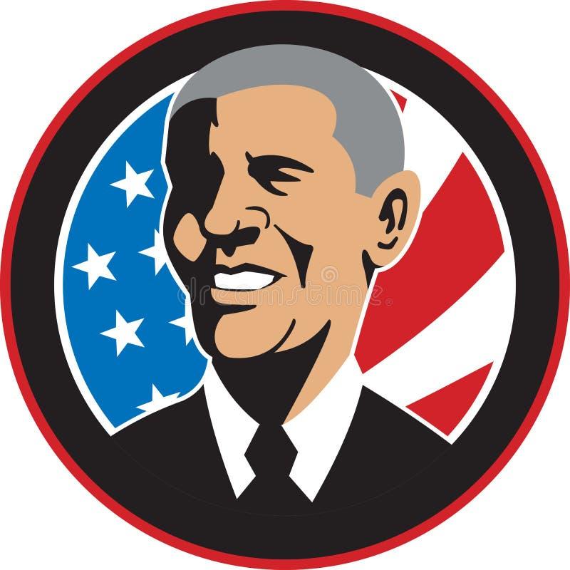 Presidente americano Barack Obama Flag illustrazione di stock