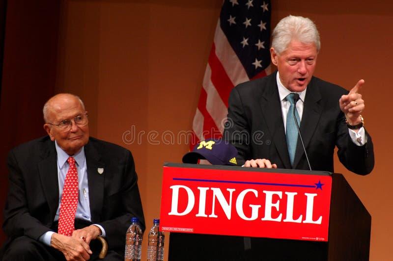 Presidente anterior Bill Clinton y Juan Dingell imágenes de archivo libres de regalías