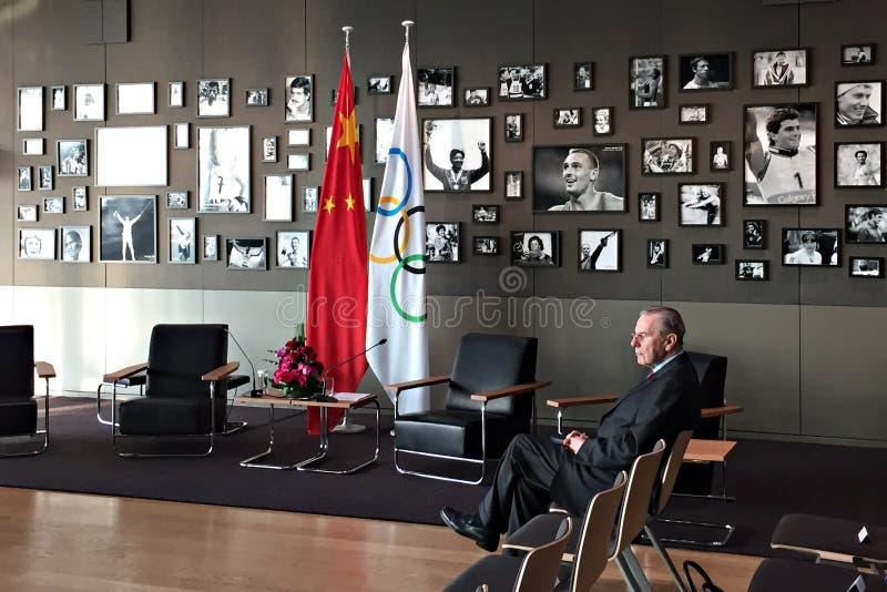 Presidente anterior Jacques Rogge del comité olímpico internacional fotografía de archivo libre de regalías