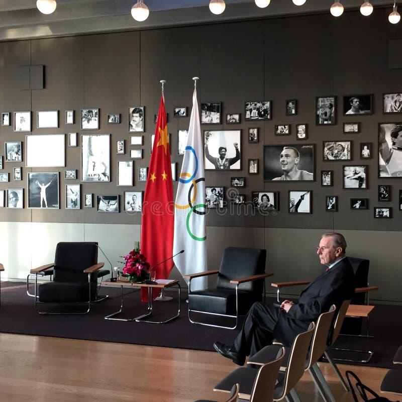 Presidente anterior Jacques Rogge del comité olímpico internacional foto de archivo libre de regalías