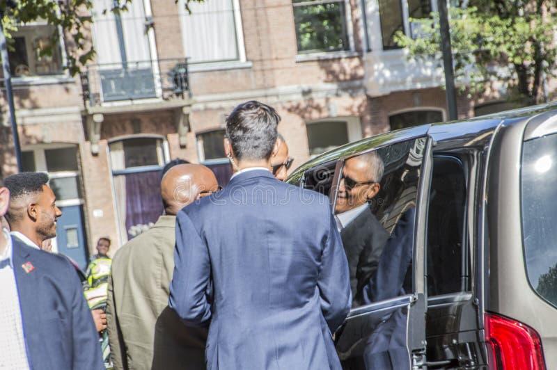 Presidente anterior Obama que deja a hotel de Amstel en Amsterdam el 29-9-2018 holandés foto de archivo libre de regalías