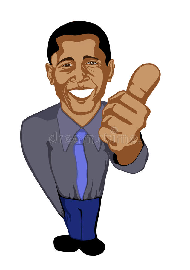 Presidente Barack Obama di caricatura royalty illustrazione gratis