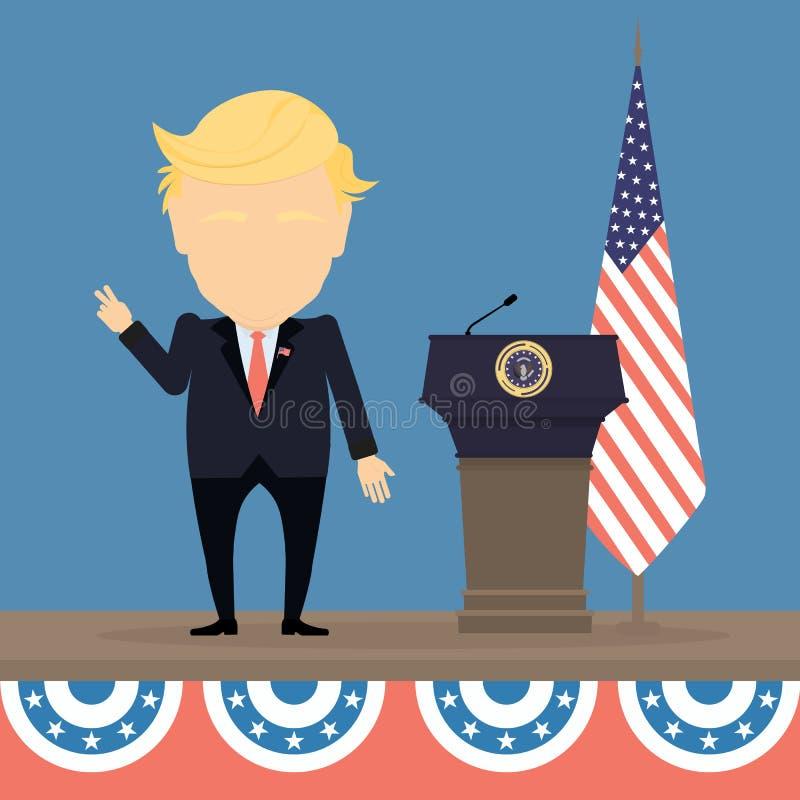 presidente con la bandera americana ilustración del vector