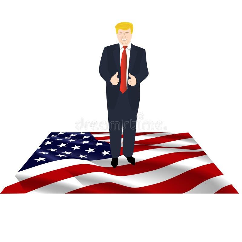 Presidente de América en la bandera libre illustration