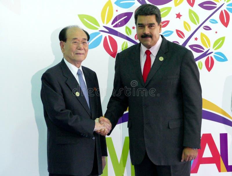 Presidente del presidio del montaggio supremo della gente della Corea del Nord assiste a Kim Yong Nam ed a presidente venezuelano immagine stock libera da diritti