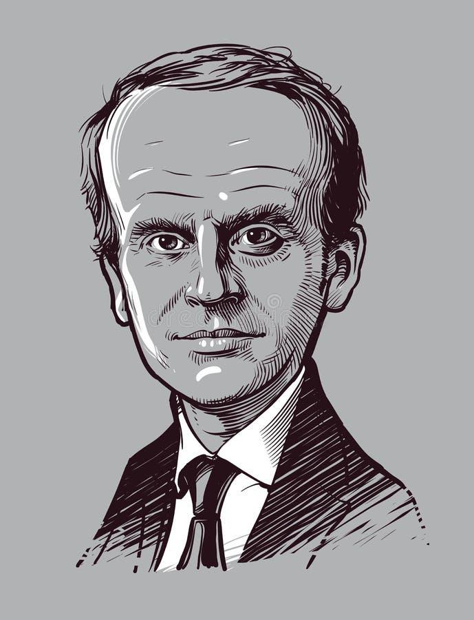 03 24 2018 Presidente del retrato de la historieta de Francia Emmanuel Macron Ilustración drenada mano del vector Uso editorial s ilustración del vector