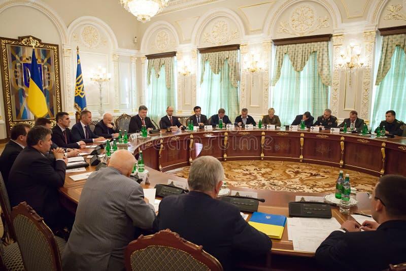 Presidente dell'Ucraina Petro Poroshenko nel corso della riunione di NSDC fotografia stock