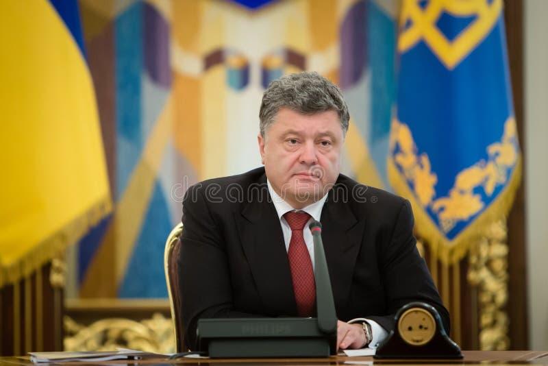Presidente dell'Ucraina Petro Poroshenko nel corso della riunione di NSDC fotografia stock libera da diritti