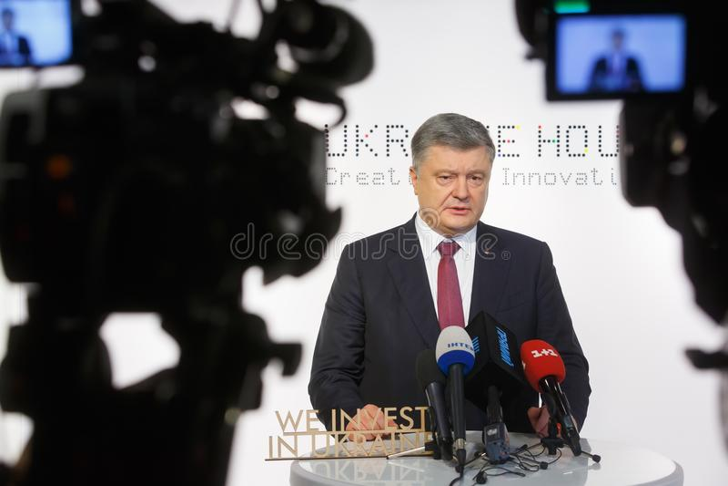 Presidente dell'Ucraina Petro Poroshenko in Tavate immagini stock