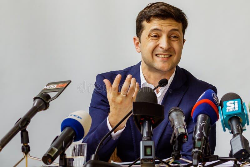 Presidente dell'Ucraina Volodymyr Zelenskyy ha visitato Uzhgorod immagine stock libera da diritti