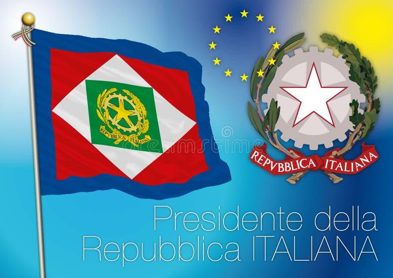 Presidente della bandiera italiana della repubblica, Italia illustrazione di stock