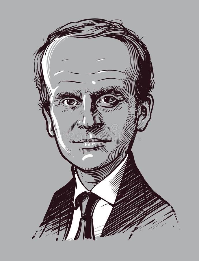 03 24 2018 Presidente do retrato dos desenhos animados de França Emmanuel Macron Ilustração desenhada mão do vetor Uso editorial  ilustração do vetor