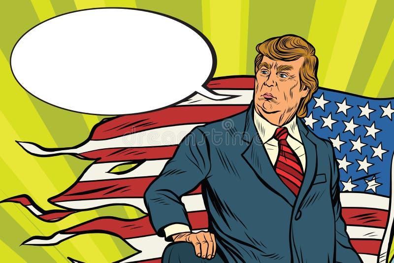 Presidente Donald Trump com bandeira dos EUA, campo de batalha ilustração royalty free