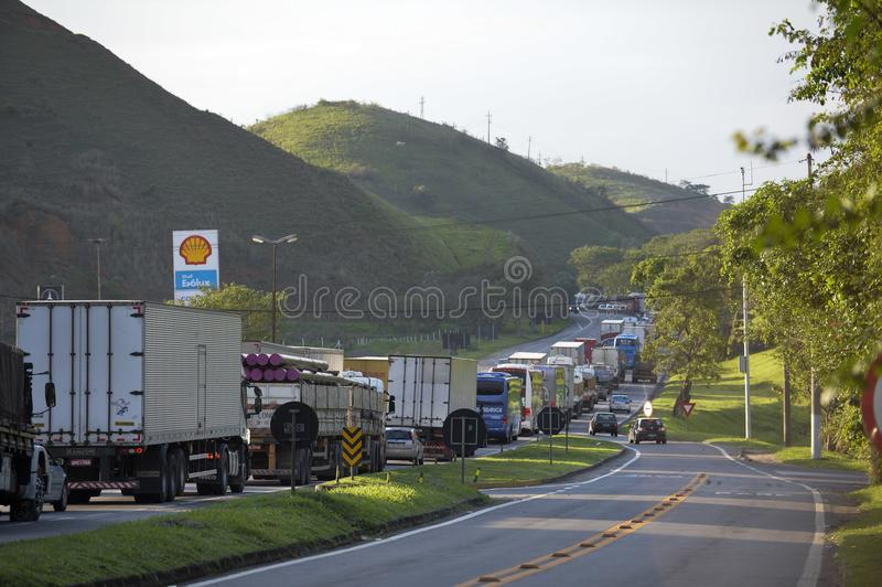 Presidente Dutra Road. Barra Mansa, Brazil - november 29, 2017: Main Presidente Dutra Highway linking the city of São Paulo to Rio de Janeiro near KM 277 with stock photo