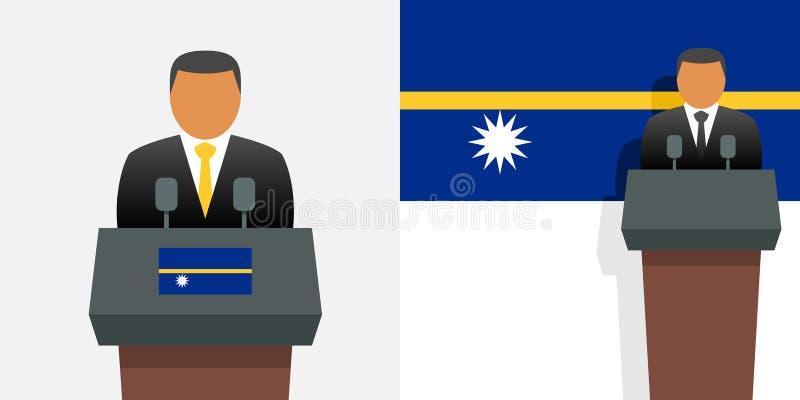 Presidente e bandeira de Nauru ilustração do vetor