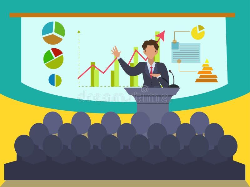 Presidente en el convenio y la presentación del negocio ilustración del vector