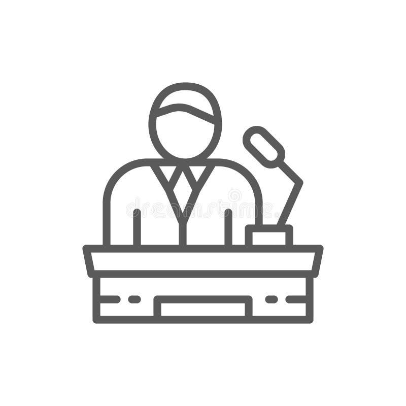 Presidente en la tribuna, presentación del proyecto, presidente, línea de líder icono stock de ilustración