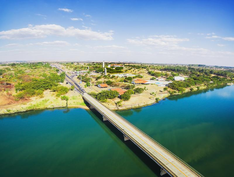 Aerial view of the Helio Serejo bridge on the borders between MS royalty free stock photography