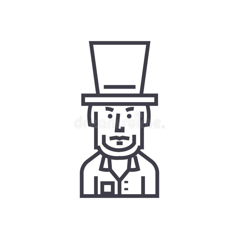 Presidente EUA, linha ícone do vetor de Abraham Lincoln, sinal, ilustração no fundo, cursos editáveis ilustração royalty free