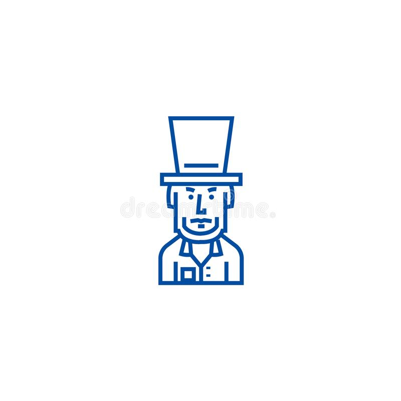 Presidente EUA, linha conceito de Abraham Lincoln do ícone Presidente EUA, símbolo liso do vetor de Abraham Lincoln, sinal, esboç ilustração royalty free
