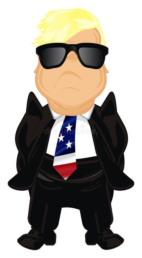 Presidente feliz los E.E.U.U. de la O.N.U en gafas de sol stock de ilustración