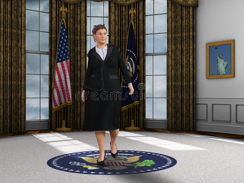 Presidente femminile Oval Office Illustration della donna illustrazione di stock