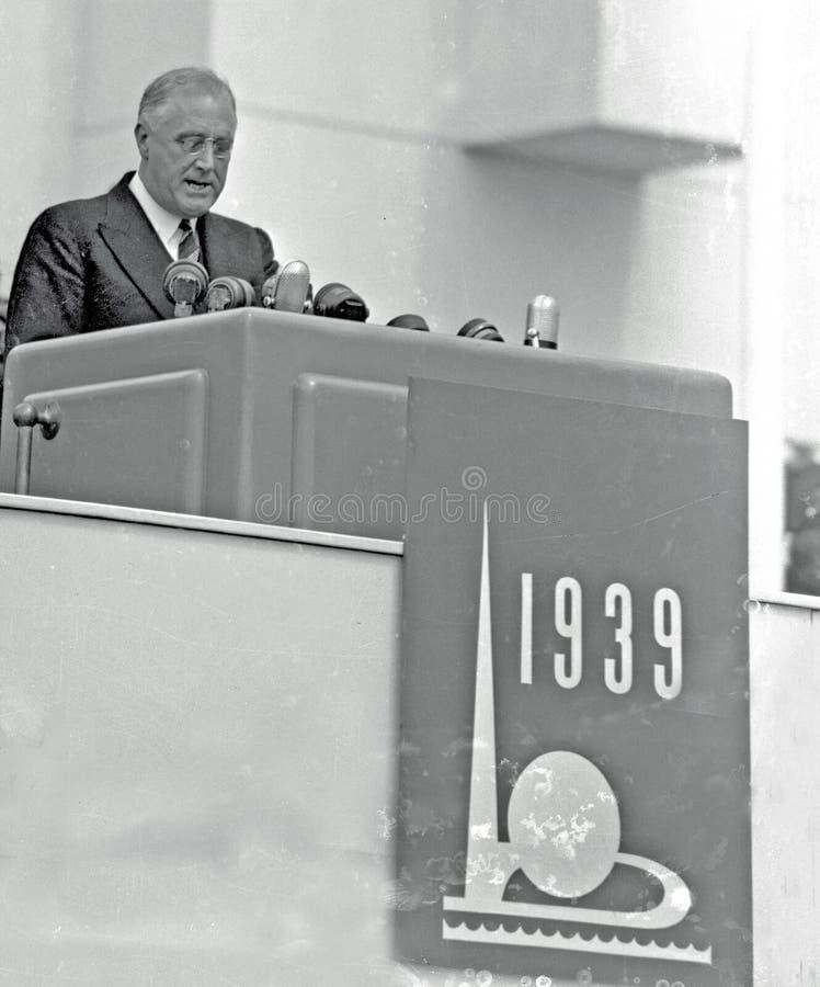 Presidente Franklin D La fiera 1939 del mondo di Roosevelt Opens fotografia stock libera da diritti