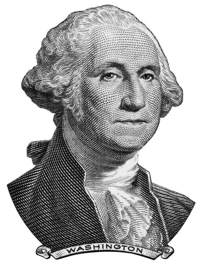 Presidente George Washington de los E.E.U.U. hace frente en una macro del billete de dólar de los E.E.U.U. imagen de archivo