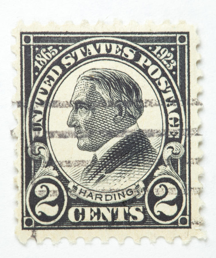 Presidente Harding Carimbo 1922-1929 foto de stock