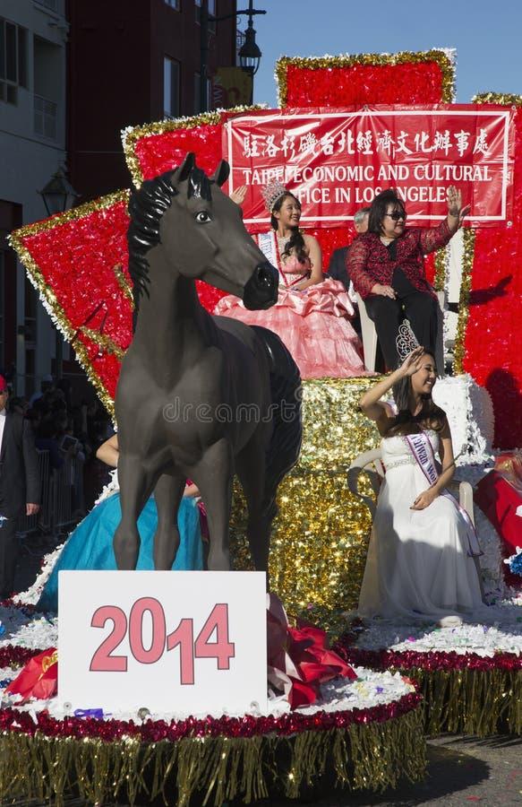 Presidente K? NG Ch? NG del ½ del ¿ NG-Chï di Taipei, Taiwan, 115th Dragon Parade dorato, nuovo anno cinese, 2014, anno del caval fotografia stock